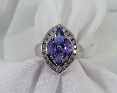 Tanzanite Diamond Ring Cocktail Statement White Gold December Birthstone