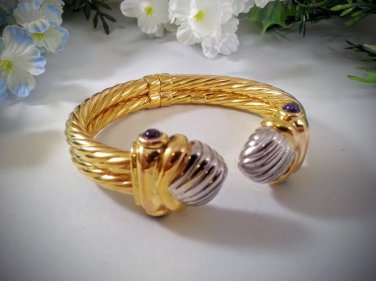 1980's 14K Yellow and White Gold Amethyst Cabochan Statement Bracelet