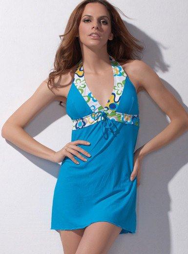 Sexy Swimwear One-piece V Neck Beach Dress Swimsuit