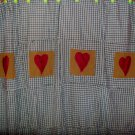 Country Hearts Shower Curtain-Primative-Handmade-Custom