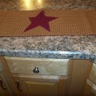country primative mustard, burgunday table runner with star appliqued