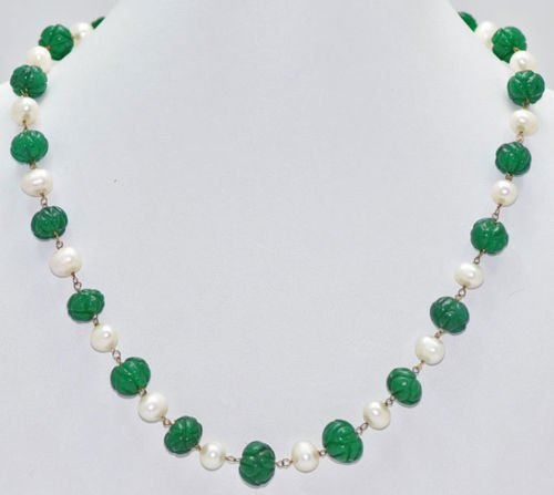 Emerald Gemstone Melons with Natural Peals Bead Jewelry