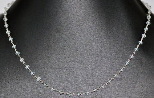 Aquamarine Natural Gemstone Faceted Beads Necklace