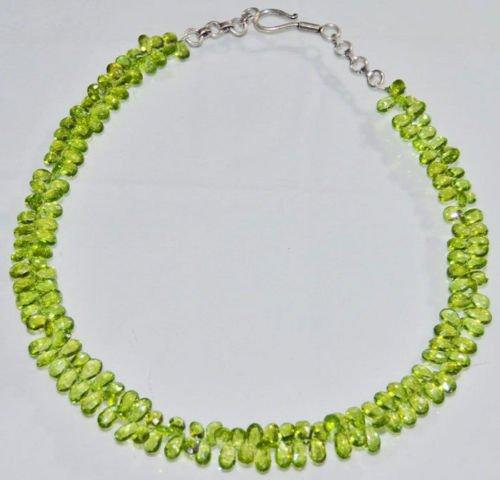 AAA Quality Beads Jewelry Necklace of Peridot Almonds