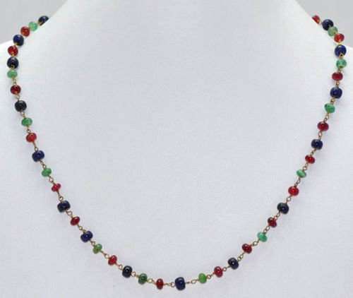 Emerald, Ruby, Blue Sapphire Beads Jewelry Necklace