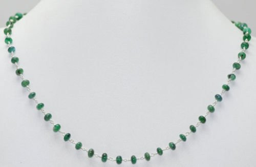 Emerald Gemstone Round Cabochon Beads Jewelry Necklace