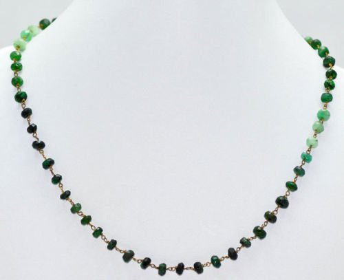 Necklace of Natural Emerald Shaded Faceted Beads