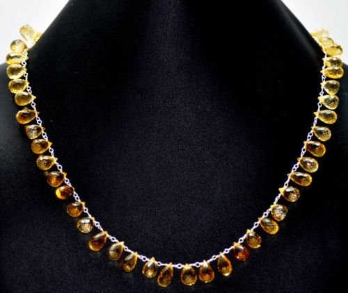 Beautiful Citrine Natural Gemstone Drops Beads Necklace