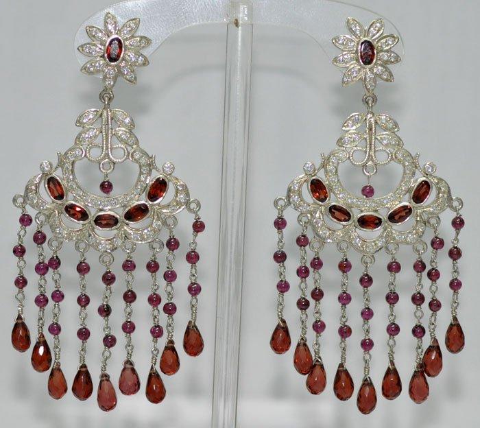 Garnet gemstone studded chandelier earrings .925 silver