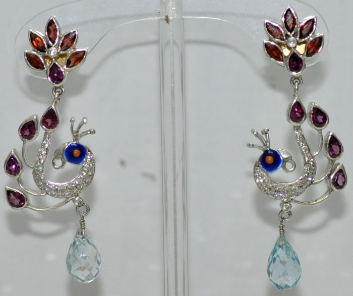 Dancing peacock shape gemstone studded earrings