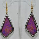 Purple Turquoise Studded Beautiful Chandelier Earrings