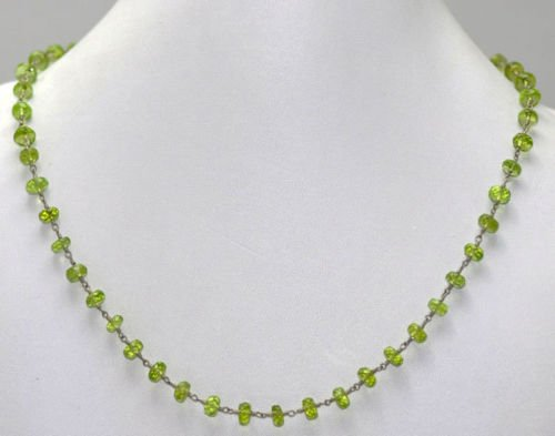Natural Peridot Gemstone Faceted Bead Necklace