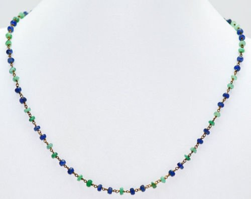 Emerald & Tanzanite Gemstone Faceted Bead Jewelry