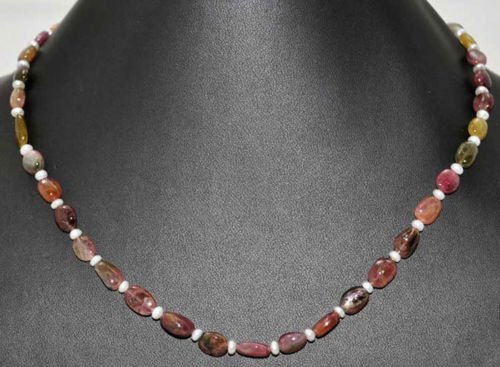 Multi Color Tourmaline Gemstone Oval Beads With Pearls