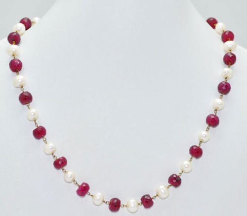 Ruby Gemstone & Pearl Beads Jewelry Necklace