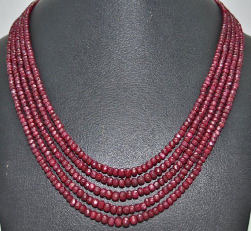 5 Rows of African Mines Natural Ruby Gemstone Beads