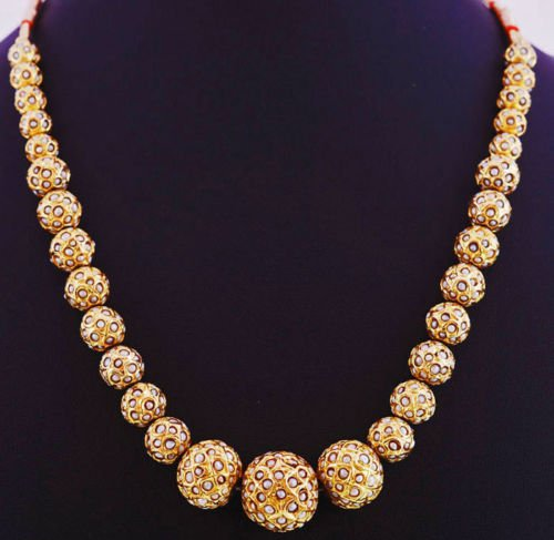 22Kt Gold Foil Lac Balls Studded Natural Pearls Beads