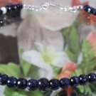 Genuine Blue Sapphire Gemstone Bead Necklace With Pearl