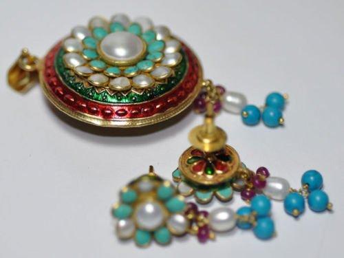 Beautiful Pearl & Turquoise Gemstone Studded Pendant