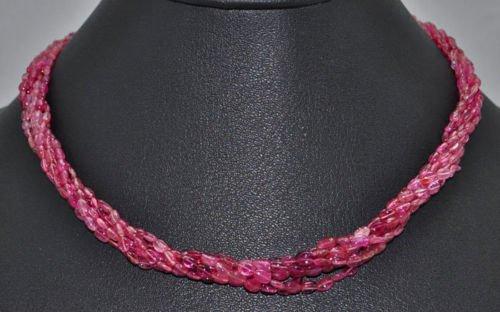 5 Twisted Rows of Pink Tourmaline Gemstone Bead Jewelry