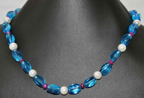 Swiss Blue Crystal Tumble with Ruby & Pearl Jewelry