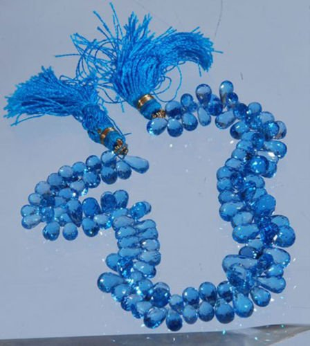 "Swiss Blue Topaz ""AAA"" Quality Gemstone Drops Necklace"