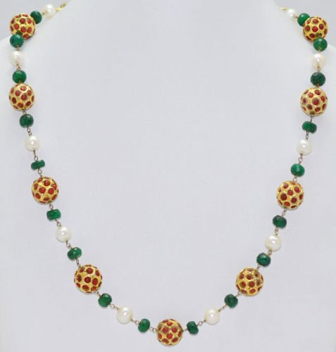 22 Kt Coral Balls With Emerald Beads & Sea Water Pearls