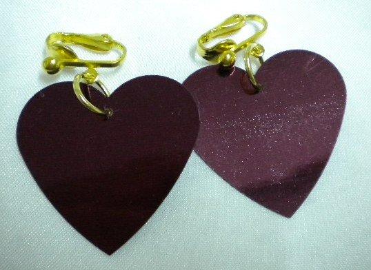 Purple heart sequin dangle clip on earring