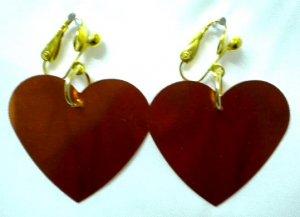 Orange heart sequin dangle clip on earring