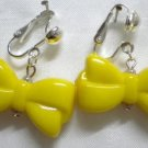 Yellow bow clip on earring