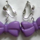 Purple bow clip on earring