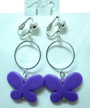 Handmade hoop circle purple butterfly dangle clip on earring