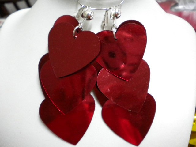 Red sequin heart dangle clip on earring
