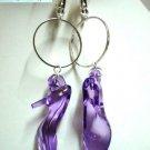Handmade hoop purple high heel shoe charm dangle clip on earring