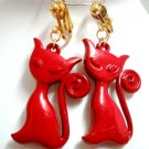Red cat pet charm bead dangle clip on earring