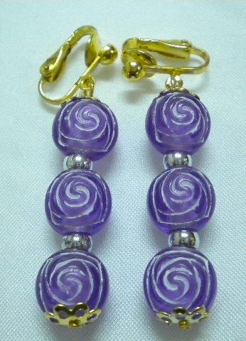 Purple rose flower dangle kid girl clip on earring