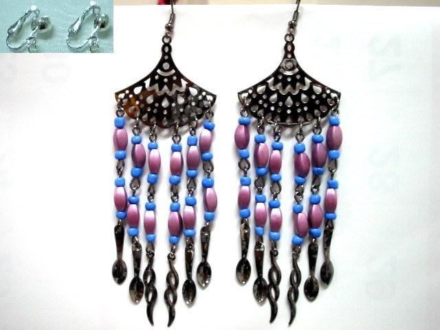 Fan charm violet drop twist chandelier long earring for woman