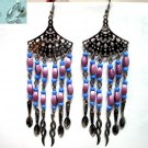 Fan charm violet drop twist chandelier long earring for woman