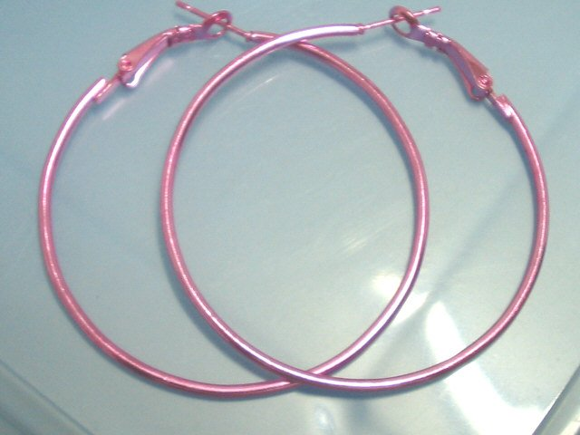 """HOT Sale $1.5 Pink huge huggie hoop earring 5cm 2"""" FREE SHIPPING"""