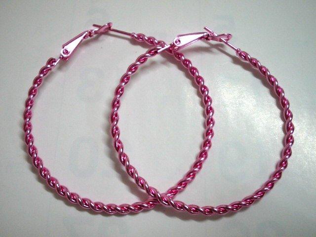 """HOT SALE $1.5 Pink twist huge huggie hoop earring 5cm 2"""" free shipping"""