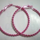 "HOT SALE $1.5 Pink twist huge huggie hoop earring 5cm 2"" free shipping"