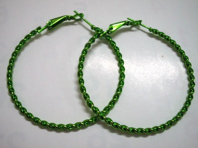 HOT SALE $1.5 Green twist huge huggie hoop earring 5cm 2""