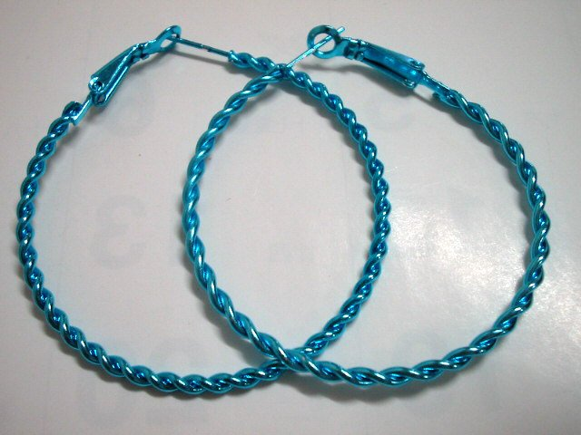 HOT SALE $1.5 Blue twist huge huggie hoop earring 5cm 2""