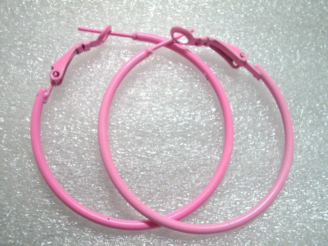 Hot Sale $1.5 Pink huge huggie hoop earring 4cm free shipping