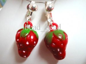 Birthday party return gift , Fruit  red strawberry kid girl clip on earring