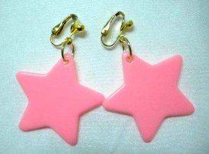 Plastic star dangle clip on earring