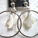 Mother of pearl South Pole penguin hoop clip on earring