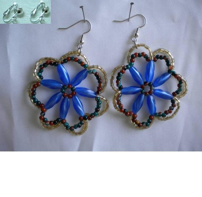 Handmade flower kid girl's dangle pierced earring