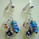 Floral lampwork rose charm dangle clip on earring for girl