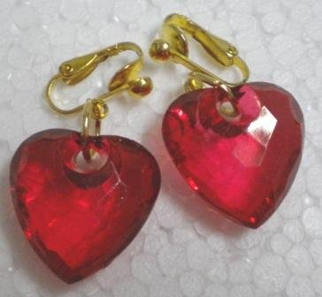 HOT SALE $2 Holiday gift for woman Red acrylic heart gold plated dangle earring